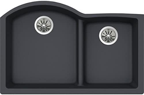 Elkay Quartz Luxe ELXHU3322RCH0 Charcoal Offset 60 40 Double Bowl Undermount Sink with Aqua product image