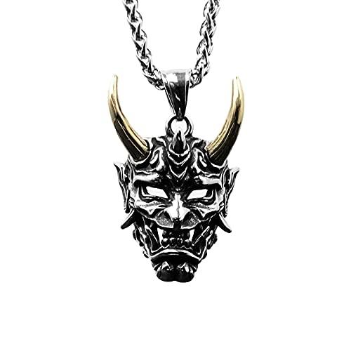 LGYKUMEG Biker Jewelry onimusha máscara Colgante Collar de Acero Inoxidable Calavera Calavera joyería de Moda para Hombres - con Dos Cadenas (Negro y Plateado),Oro,70cm