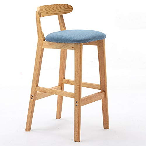 WZYX Kitchen Stools Height Bar Chair with Back Solid Wood Barstool Ergonomic Streamlined Bar Stools Kitchen Island with Seating