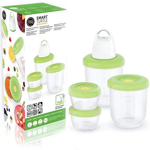 FOSA 4 x contenitori per sottovuoto + macchina per sottovuoto, adatti per forno a microonde e lavastoviglie, contenitori rotondi per alimenti, senza BPA