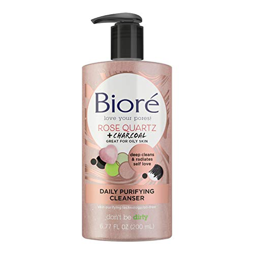 Bioré Rose Quartz Charcoal Daily Purifying Cleanser 6.77 Oz, Face Wash, Naturally Purifies Pores and Energizes Skin, Dermatologist Tested, Non-Comedogenic, Oil Free