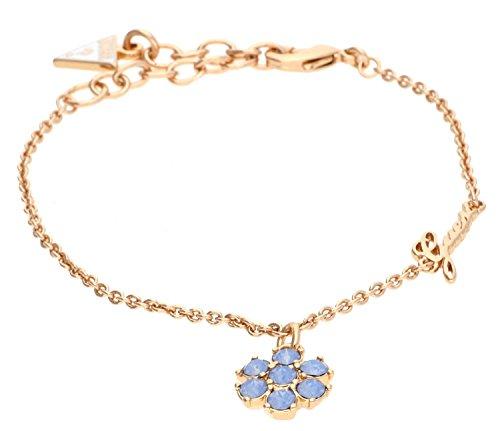 Guess CALIFORNIA SUNLIGHT - Bracciale da donna con ciondolo in acciaio inox parzialmente placcato oro, con cristalli blu, 19 cm
