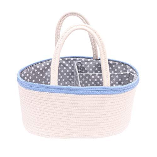 Cesta para pañales de bebé con 3 compartimentos para guardar pañales y toallitas Azul grisáceo Talla:36x22x18cm