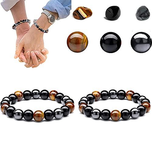 2pcs Lymph Drainage Tiger's Eye Triple Bracelet, Pulsera de Triple Protección para Traer Suerte y Prosperidad, Pulseras de Piedra de Ojo de Tigre de Obsidiana Negra Hematita, Ajustable