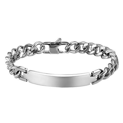 JewelryWe Schmuck Edelstahl Armband mit Gravur Silber Link Panzerkette Panzerarmbänder 21.2CM