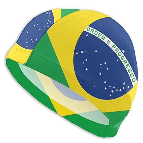HFHY Cuffia da Nuoto Protezione per Le Orecchie Bandiera del Brasile Cuffie da Nuoto Cappello da Nuoto Impermeabile per Uomo, Donna, Adulto