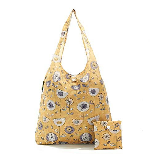 Nieuwe 2020 Design Eco Chic 100% gerecycled plastic opvouwbare herbruikbare Shopper/Shopping Bag Eén maat Bloem Mosterd uit de jaren 50