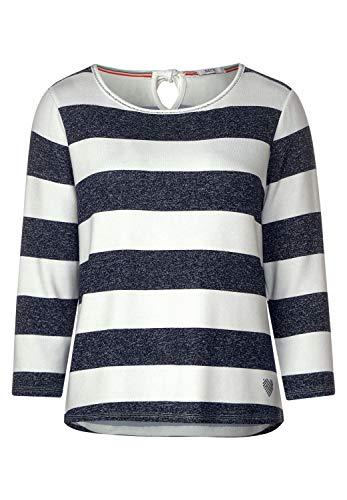 Cecil Damen 314713 T-Shirt, deep Blue Melange, Small