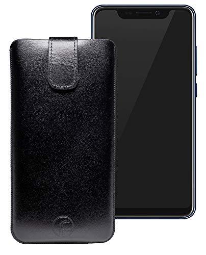 Favory Original Etui Tasche für ZTE Axon 9 Pro Leder Etui Handytasche Ledertasche Schutzhülle Hülle Hülle Lasche mit Rückzugfunktion* in schwarz