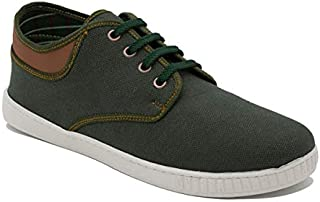 Squadra Textile Contrast Collar Mid-Top Lace-Up Fashion Sneakers for Men