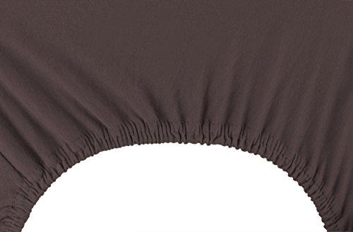 DecoKing 17470 80×200-90×200 cm Spannbettlaken braun 100% Baumwolle Jersey Boxspringbett Spannbetttuch Bettlaken Betttuch Schoko Brown Amber Collection - 6