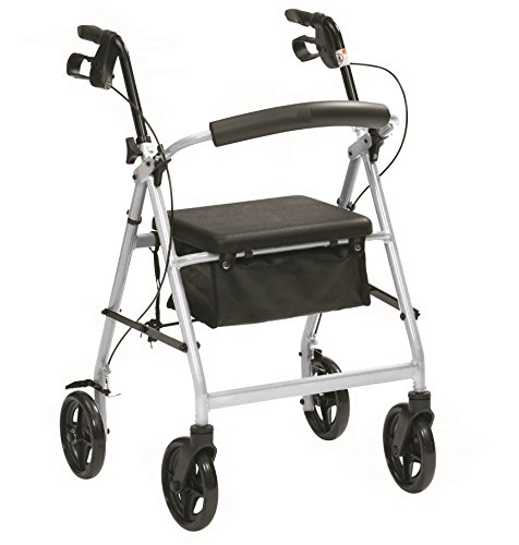 Ultra lightweight folding rollator wheeled walking frame with brakes, seat and...