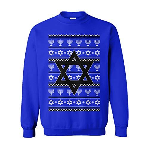 Star of David - Jewish Menorah Hanukkah Ugly Unisex Crewneck Sweatshirt (Royal, Large)