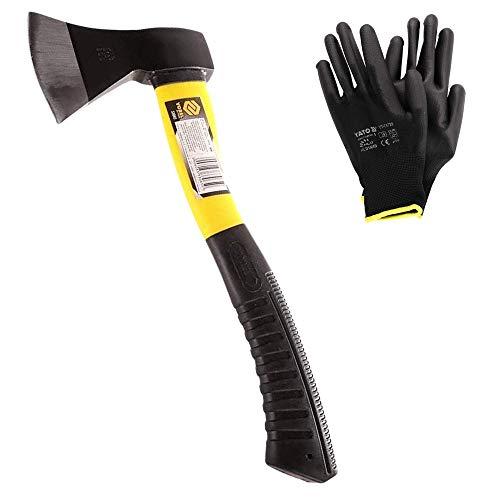 Ascia spaccalegna professionale VOREL (600g), accetta spaccalegna in fibra di vetro e manico pvc + guanti da lavoro YATO NERI