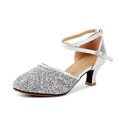 Damen Tanzschuhe Pumps Latin Schuhe Gesellschaftstanz Schuhe hochhackig Pailletten Sexy Samt Silber Asiatisch 42/ EU 40,5