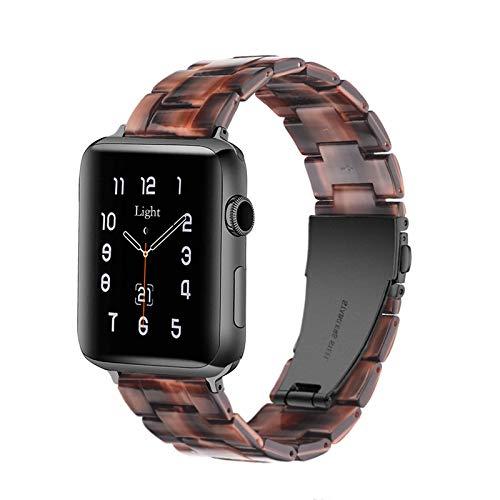 Apple Watch Band - Correa de resina para iWatch compatible con hebilla de acero inoxidable de cobre para Apple Watch Series 4 Series 3 Series 2 Series1
