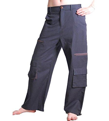KUNST UND MAGIE Herren Baggy Pants Hippie Goa PSY Baumwoll Hose, Größe/Size:M;Farbe:Mausgrau/Grey