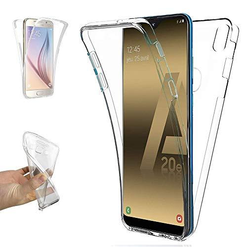 REY - Funda Carcasa Gel Transparente Doble 360º para Samsung Galaxy A20e, Ultra Fina 0,33mm, Silicona TPU de Alta Resistencia y Flexibilidad