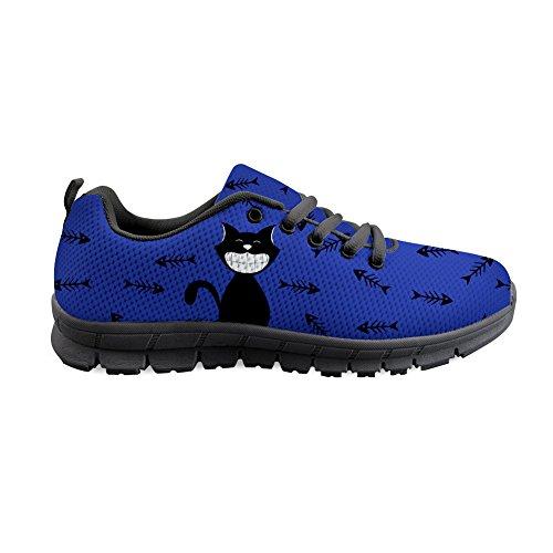 Heren marineblauwe achtergrond zwarte kat patroon sportschoenen loopschoenen sneaker ademende lichte trailloopschoenen