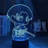 Attack On Titan Anime 3D Lámpara LED Decoración del hogar Eren Jaeger Levi...