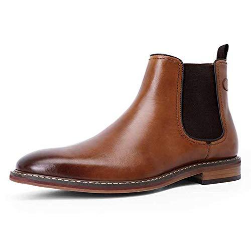 QCBC Chelsea Botas de cuero genuino parte inferior suela superior de cuero interior hecho a mano botas zapatos,41 EU