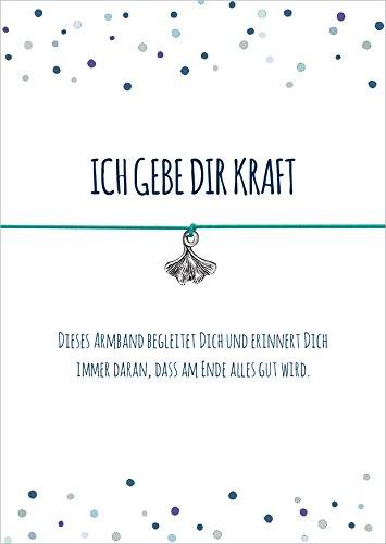 Glücksschmiedin Kraft Armband mit Ginko Blatt Anhänger versilbert, mit elastischem Textilband in türkis und liebevoller Karte: …DASS am Ende Alles Gut Wird.