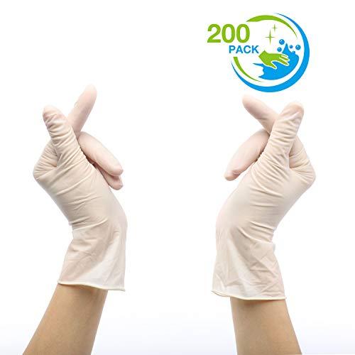 200pcs Nitrilo Guantes Desechables Polvo Guantes Libres De Látex, Dispensador Pack Cocina Universal/Lavavajillas/Trabajo/Goma/Guantes de Jardín (M, Blanco)