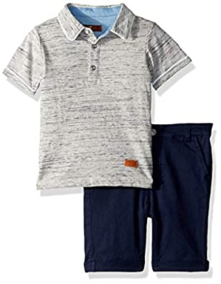 7 For All Mankind Baby Boys Space Dye Henley T-Shirt and Twill Short Set, Heather Grey, 24M