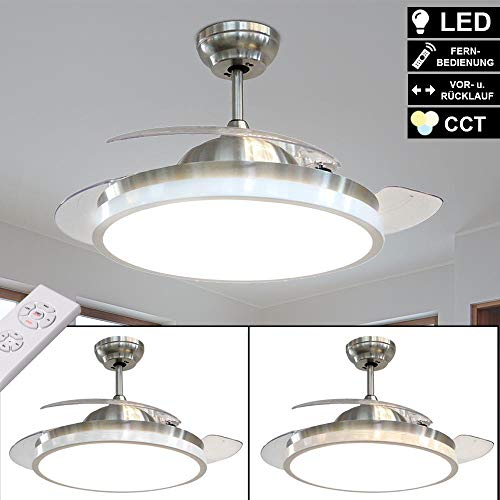 LED Luxus Decken Ventilator Tageslicht Beleuchtung Wohn Schlaf Zimmer 5 Stufen Lüfter Timer Leuchte Flügel klappbar
