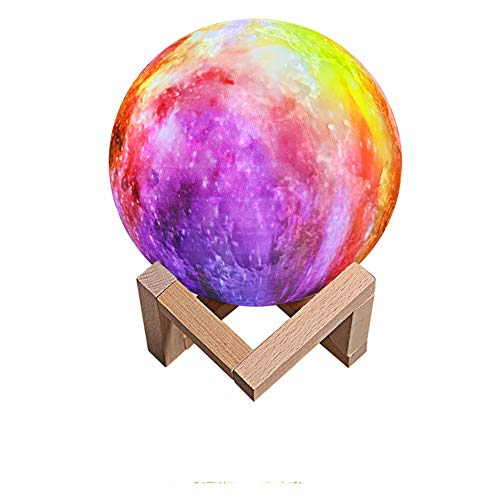Cakunmik Mond Lampe-Nachttischlampe, 3D Mond Kunst Mondlampe, Farbige Dekoleuchte mit Tragbar Dimmbar, Schlummerleuchte Stimmungslicht, USB Steckdose für Geschenk,Mit Fernbedienung 16 Farben,B