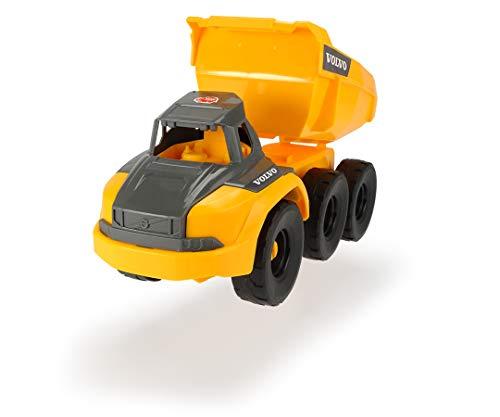 Dickie Toys Volvo Muldenkipper, Spielzeug Kipplaster mit Freilauf, bewegliche Gelenkachse hinter Führerhaus, bewegliche Ladefläche, offene Kabine, 26 cm, gelb/grau