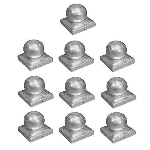 10 x h2i Kugelkappen Pfostenkappen mit Kugel verzinkt Größe: 71 mm / 91 mm / 101 mm / 121 mm (71 x 71 mm)