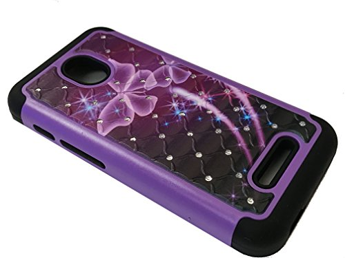 for Alcatel One Touch Allura/Fierce 4 / Pop 4 Plus Dual Hybrid Sparkle Bling Protective Case Phone Cover + Gift Stand (Sparkle Purple Butterfly)