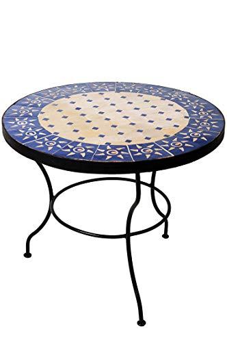 Original Marokkanischer Mosaiktisch Couchtisch ø 60cm Groß Rund | Runder Kleiner Mosaik Gartentisch Mediterran | als Tisch Beistelltisch für Balkon Oder Garten | (Sonne Beige Blau)