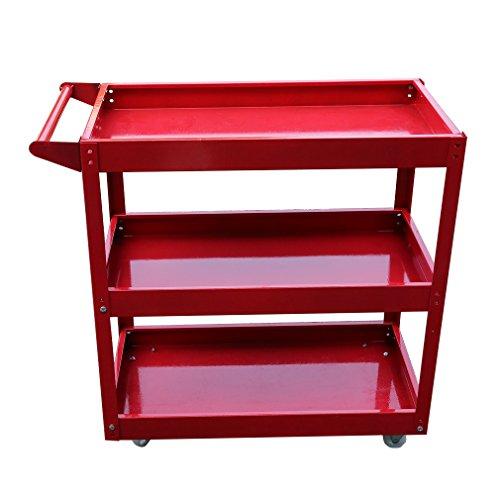 Tatayang Werkstattwagen Werkzeugwagen Rollwagen Trolley mit 3 Etagen, Profi Werkstatt Garage Werkzeuge Lagerwagen, Tragkraft bis 200 kg, rot