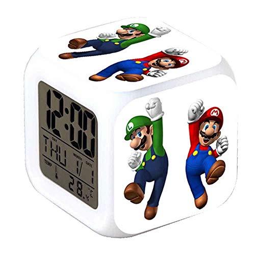 R-timer New Super Mario Anime Clock Alarm-LED-Licht Nachtlicht Zubehör für Teenager (A)