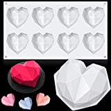 You will receive: the package comes with 1 piece 8 Cup diamond chocolate silicone dessert dessert mould and 1 piece heart geometric baking mold in total, you can use the 8 Cup diamond chocolate silicone dessert mould to decorate small cakes and pies,...