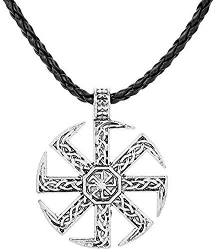 niuziyanfa Co.,ltd Collar Vikingo para Hombres Pagan Impresionante Kolovrat Brújula Colgante Collar Joyería Punk