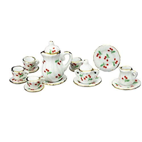 Casa de muñecas en Miniatura del Juego de té de Porcelana Copa Pot Plato Plato Floral impresión de la Cereza de Cocina y de 1:12 Ware 15PCS