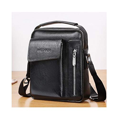 DFV mobile - Bag Leather Waist Shoulder Bag for ebook, tablet and for Energy SISTEM Energy Phone Pro 3 - Black