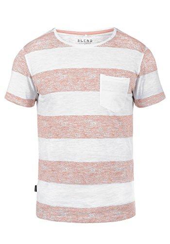 Blend Vegas Herren T-Shirt Kurzarm Shirt Mit Streifen Und Rundhalsausschnitt 100% Baumwolle, Größe:L, Farbe:Rose Red (73837)