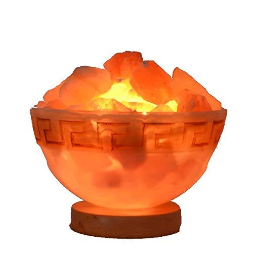 Salzkristall-Lampe| | Salz Lampe groß mit 3 Kg Salz-Brocken | Nachtlicht und Einschlafhilfe | Salzglutschale Feuer des Olymp Gr. L
