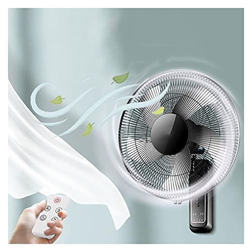YSJX Ventilador de Pared Potente,Ventilador con 3 Velocidades,Oscilante Auto 80°,temporizado,Control Remoto,60W Negro,para Hogar/Oficina (Size : 16inch)