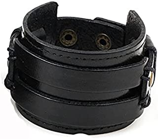 Leather Cuff Double Wide Bracelet Fashionable Rope Bracelet for Boys