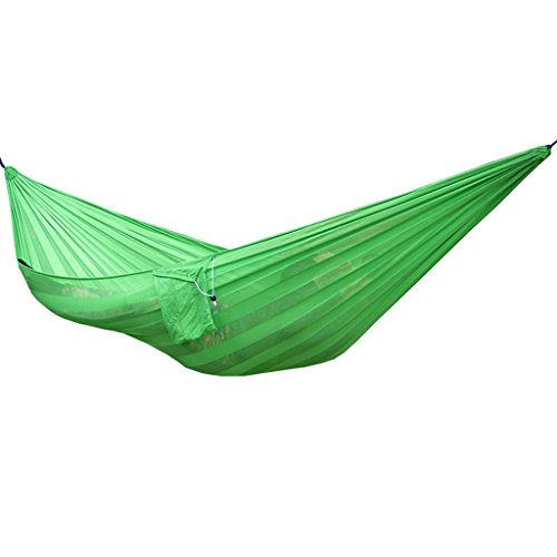 NYDZ hangmat, Ice Silk Mesh Nylon, dubbele verbrede Camping schommelstoel, meerkleurig optioneel, 230 * 160cm Groen