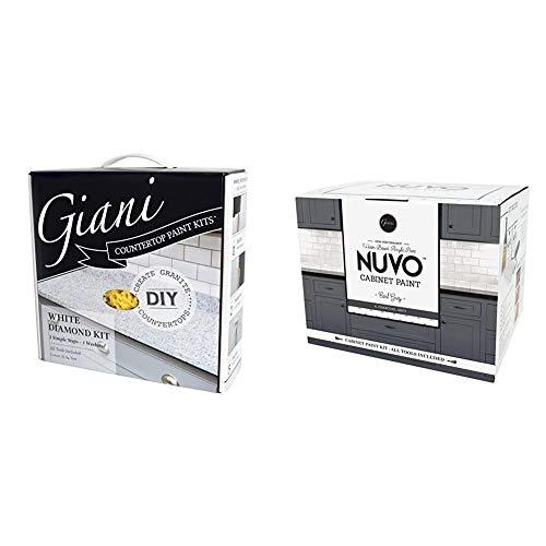Giani™ Countertop Paint Kit, White Diamond & Nuvo Cabinet Makeover Kit, Earl Grey