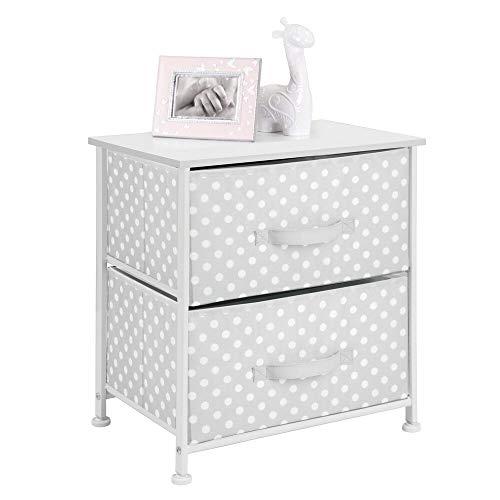 mDesign - Ladekast - opbergsysteem/organizer - voor kinderkamer/babykamer - met twee lades/vlakke bovenkant/stippenpatroon - grijs/wit