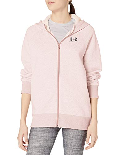 Under Armour Rival Fleece Sportstyle - Sudadera con Mangas raglán y Cremallera para Mujer Rosa Dash Pink Medium Heather (667)/Negro XS