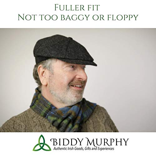Peaky Blinders Hat Newsboy Style Cap Made in Ireland Fuller Fit Wool Tweed L Grey