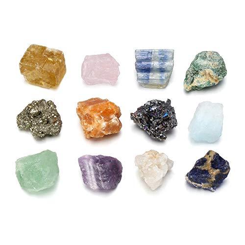CrystalTears Pierre Precieuse Minéraux Brut Précieuse Variée 12PCS Coffret Pierres et Cristaux Reiki Chakra Irrégulière Collection Petite Décoration